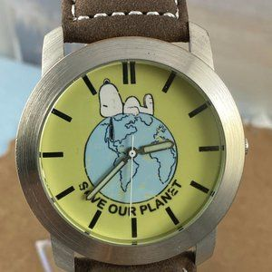 Vintage Rare Snoopy Save Our Planet Peanuts Watch